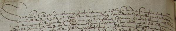 Extrait du contrat de mariage Henelle-Musset (Source : AD17. Greffe Jacques Cousseau. 3 E 220, fol. 27v et 28r)