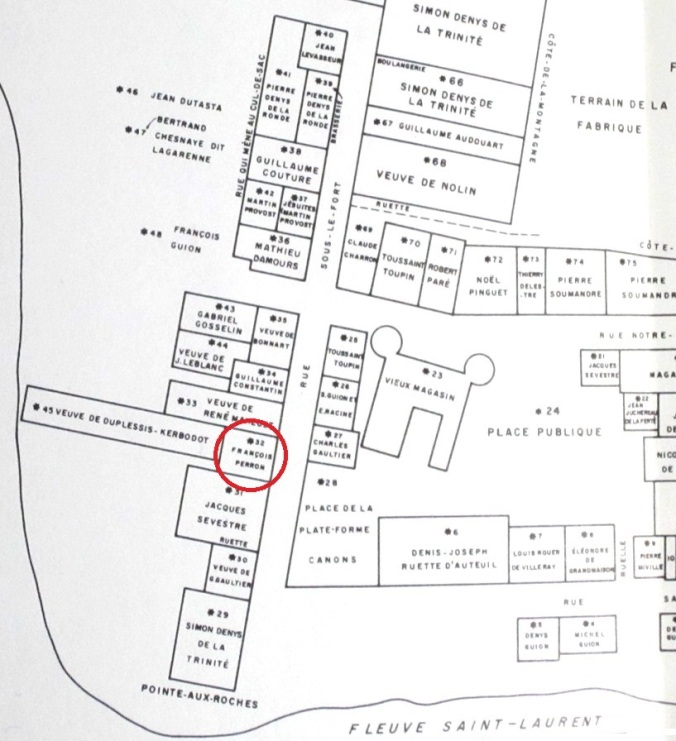 Localisation de la maison de François Peron en 1663 (extrait). (Source : Trudel, Marcel. Le terrier du Saint-Laurent en 1663, Ottawa, Éditions de l'Université d'Ottawa, 1973, face à la p. 122)