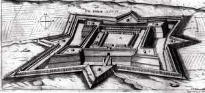 Plan du Fort Louis à La Rochelle. (Source : AD17. Plan du Fort Louis à La Rochelle. s.d. xviie siècle.)