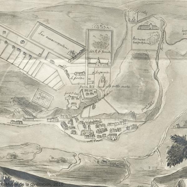 Québec en 1663. Détail de : Le véritable plan de Québec, fait en 1663. Attribué à Jean Bourdon, 1663. Reproduction. (Source : Musée de la civilisation, fonds d'archives du Séminaire de Québec)