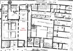 Salle Saint-Yon (Couvent des Augustins). Plan de 1636, par Chevalier. (Source : A.N. : MIII, 92 17 1070 C Ph. Inv. D. Lebée)