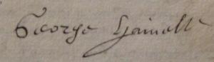 Signature de Georges Henelle en 1617. (Source : AD17. Greffe Jacques Cousseau. 3 E 220, fol. 27v et 28r)