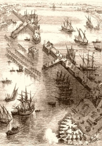 Vue de la digue vers 1627 (Source : www.france-pittoresque.com)