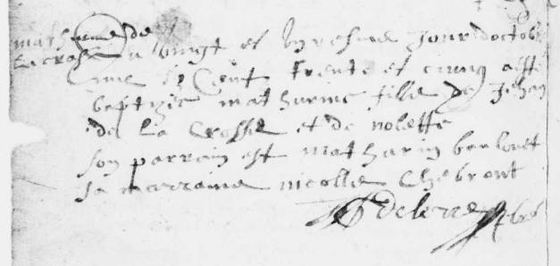 Acte de baptême de Mathurine Lacroze. 21 octobre 1635. (Source : AD79. 1MI EC 273 R 761. Fors. Baptêmes, mariages et sépultures. 1624-1663. Vue 74/125)