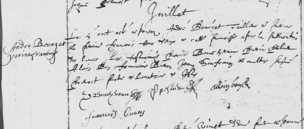 Acte de mariage d'André Bourget et de Perrine François, le 5 juillet 1648. (Source : AD17 en ligne. GG376. La Rochelle. Mariages. Notre-Dame. 1636-1666. Vue 126/309)