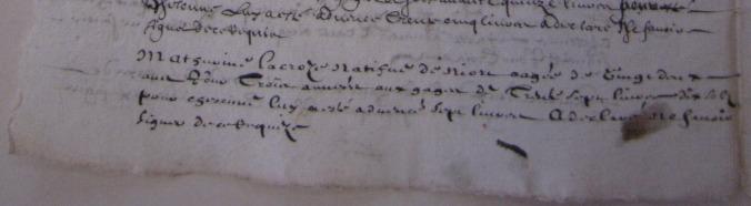 Extrait des conditions d'engagement de Mathurine Lacroze. 14 et 15 mai 1658. (Source : AD17. Greffe Abel Cherbonnier. Liasse 3 E 1128)