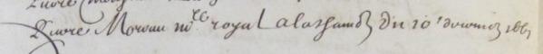 Extrait de l'« ALfabet des nomps de Ceux qui ont esté condamnez a vider… » (Source : Archives municipales de La Rochelle. Audiences de police. FFARCHANC39, fol. 238v)