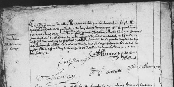Acte de mariage de Pierre Nobileau et de Mathurine Lacroze. 20 mai 1666. (Source : AD17 en ligne. GG376. La Rochelle. Mariages. Notre-Dame. 1636-1666. Vue 309/309)