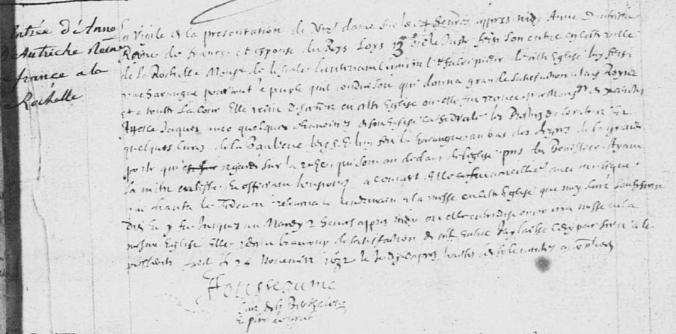 Entrée d'Anne d'Autriche Reine de France à la Rochelle (Source : AD17. GG182. La Rochelle. Collection communale. Abjurations. Saint-Barthelémy. 1630-1639. 6/17)