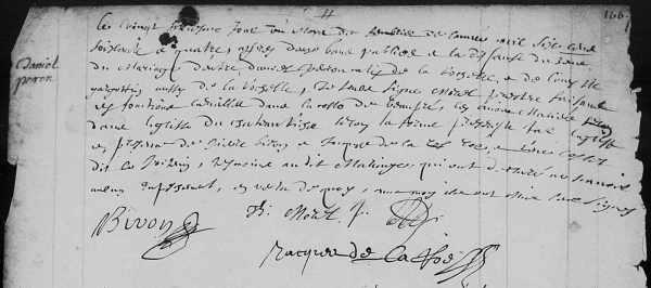 Acte de mariage de Daniel Peron et de Louise Gargotin. Château-Richer. 26 février 1664. (Source : FamilySearch Record Search. Microfilm 4295593_512).