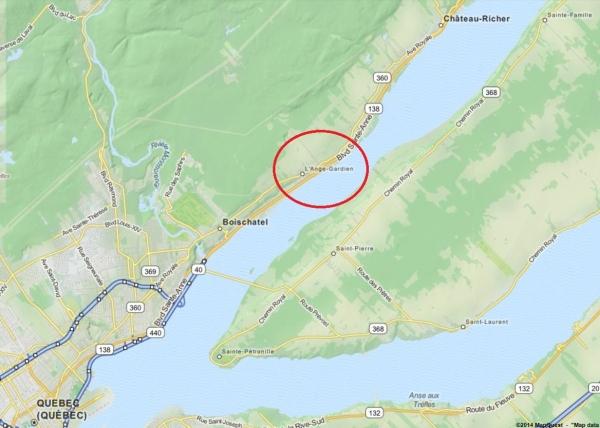 La paroisse de L'Ange-Gardien, entre Québec et Château-Richer (Source : http://www.mapquest.com)