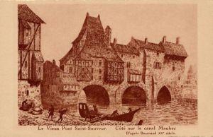 Ancien pont de Saint-Sauveur à La Rochelle. Construit par Isambert vers 1200, remplacé vers 1740 par un pont de bois. (Source : http://www.curiosae.com/fr/node/17018)