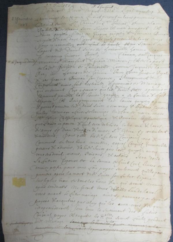 Contrat de mariage de Daniel Perron dit Suire et de Louise Gargotin. (p.1).(Source : BAnQ. Notaire Pierre Duquet. 23 février 1664)