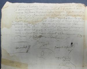 Signature de « Daniel Suire » à son contrat de mariage. (Source : BAnQ. Notaire Pierre Duquet. 23 février 1664)