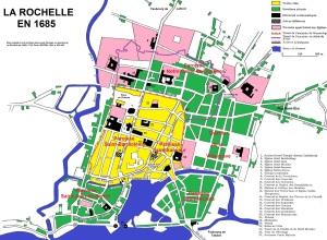 Plan de La Rochelle en 1685. Source : Louis Pérouas, Le diocèse de La Rochelle de 1648 à 1724, Paris, SEVPEN, 1964, p. 494-495.