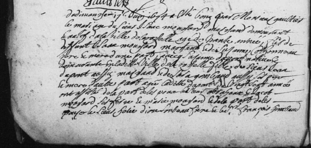 Extrait de l'acte de mariage d'Isaac Mouchard et de Suzanne Depont, le 7 juin 1674 (Source : AD17 en ligne. Dompierre-sur-Mer. I 45-61. Collection du greffe. BMS. 1669-1684, vue 83/155)