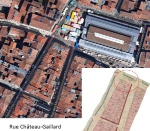 La rue Château-Gaillard, aujourd'hui disparue. (Sources : Google. AD17. 3 P 074/05. La Rochelle. Section C dite de Saint-Sauveur. 1811. Cadastre napoléonien)