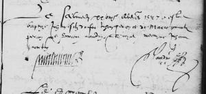 Acte de baptême de Jean Peron, le 28 décembre 1577. (Source : AD17 en ligne. I 148 (I 12). Salle Gargoulleau. Baptêmes, mariages et réceptions. 1574-1583, vue 50/158)