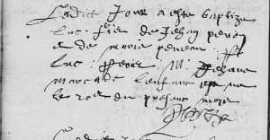 Acte de baptême de Luc Peron, le 24 juin 1608. (Source : AD17 en ligne. I 157 (I 21). Salle Saint-Yon. Baptêmes. 1606-1610, vue 85/199)