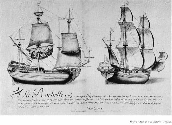 Navires de commerce rochelais au XVIIième siècle. Frégates.  (Source : Dessins de l'Album dit de Colbert, 1679)