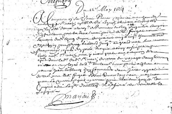 Extrait de la déclaration de Pierre Mariau. (AD17. Fonds Amirauté de La Rochelle. Document du greffe. B5615. 6 au 15 mai 1664)