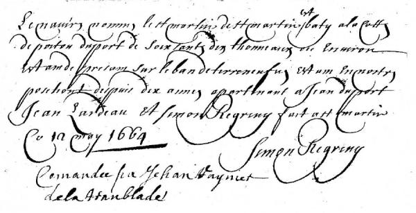 Brouillon de la déclaration de Simon Regreny. (AD17. Fonds Amirauté de La Rochelle. Document du greffe. B5615. 6 au 15 mai 1664)