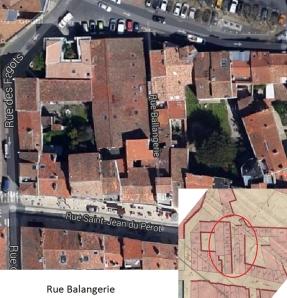 Rue Balangerie, située entre la rue Saint-Jean-du-Perrot et la Place du Maréchal-Foch. (Sources : Google. AD17. 3 P 5074/07. La Rochelle. Section E dite de Saint-Jean. 1811. Cadastre napoléonien)