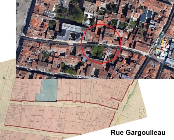 Rue Gargoulleau, située entre la rue Saint-Yon et la rue Chaudrier. (Sources : Google. AD17. 3 P 5074/06. La Rochelle. Section D dite de Saint-Barthelémy. 1811. Cadastre napoléonien)