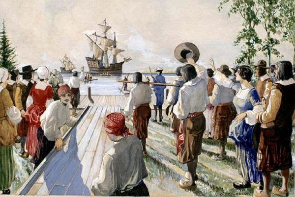 L'arrivée des bateaux provenant de France, 1660 (Lawrence R. Batchelor, vers 1931). (Source : Bibliothèque et Archives Canada / C-011924) Site web : http://www.privateers.ca/_fr/va_2020.html
