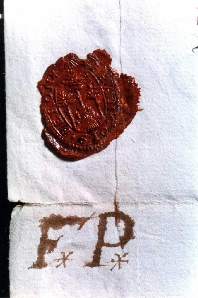 Cachet de cire et marque de François Peron (1615-1665), marchand-engagiste, bourgeois et avitailleur de La Rochelle. (Source : AD17. Greffe Abel Cherbonnier. 3 E 1128. 9 août 1657)