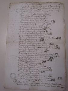 État des marchandises reçues à bord de la barque Le Petit-François (50 tx).  (Source : AD17. Notaire Abel Cherbonnier. Liasse 3 E 1128 (pièce 55). 30 juillet 1655)