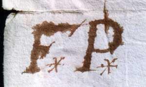 La marque de François Peron. (Source : AD17. Greffe Abel Cherbonnier. 3 E 1128. 9 août 1657)