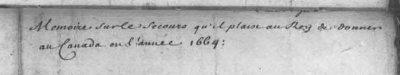 Intitulé du Mémoire. (Source : Archives Canada-France. Base de données.)