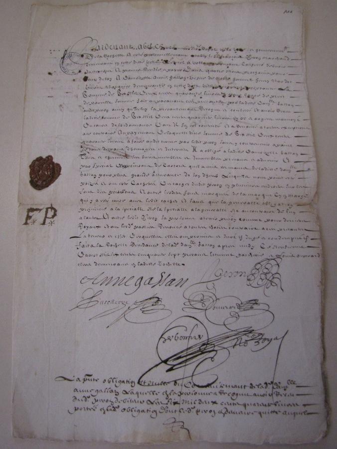 Cachet de cire de François Peron figurant sur un acte d'obligation. (Source : AD17. Greffe Abel Cherbonnier. 3 E 1128. 9 août 1657)
