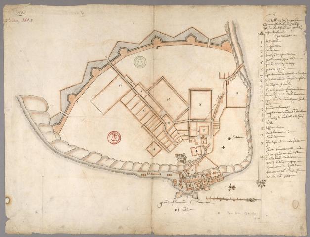 Véritable plan de Québec. 1664. Au bas de la feuille : « par Jehan Bourdon ».  (Source : Archives Canada-France. Base de données.)