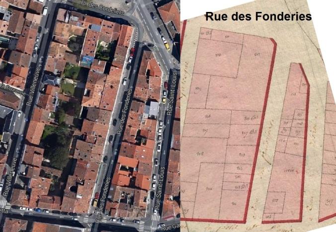 La rue des Fonderies était située, à l'époque, entre la rue Gambetta et la Place des Cordeliers. (Sources : Google. AD17. 3 P 5074/04. La Rochelle. Section B dite de Notre-Dame. 1811. Cadastre napoléonien)