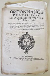 Ordonnance de voirie. 1691. Ville de La Rochelle. (Source : AM17. Voirie. DDARCHANC66)