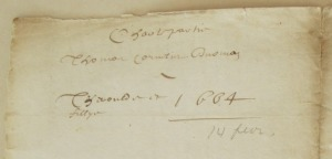 Charte-partie de Thomas Cornelis à Gédéon Théroulde et Pierre Fillye. 1664. (Source : AD17. Greffe Abel Cherbonnier. 3 E 308. Liasse)
