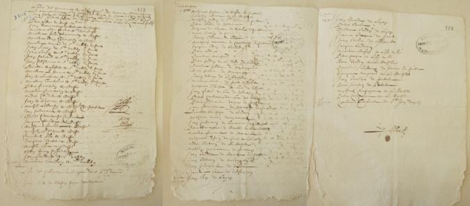 Liste des hommes de l'équipage et des passagers du navire Le Noir de Hollande pour aller à Québec et la pêche (sans date). (Source : AD17. Fonds Amirauté de La Rochelle. Documents du greffe. B5665, fol. 172 et 173r)