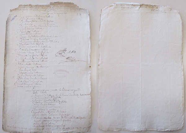 Liste des hommes de l'équipage et des passagers du navire Le Thoreau pour aller à Québec (5 mai 1663). (Source : AD17. Fonds de l'Amirauté de La Rochelle. Documents du greffe. B 5664, pièce 206 (anciennement pièce 138bis)