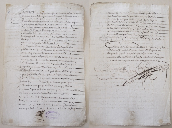 Congé et permission du Conseil de la Nouvelle-France à François Peron, marchand de La Rochelle. 2 octobre 1655. (Source : AD17, Fonds Amirauté de La Rochelle. Documents du greffe. B 5661, pièce 170).