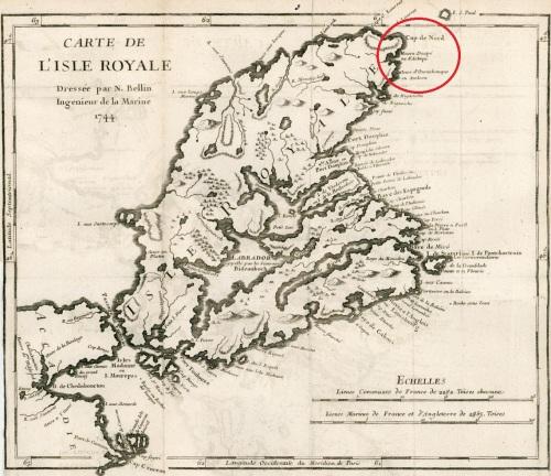 Carte de l'Isle Royale. Jacques Nicolas Bellin. 1744. (Source : Barry Lawrence Ruderman Antique Maps)