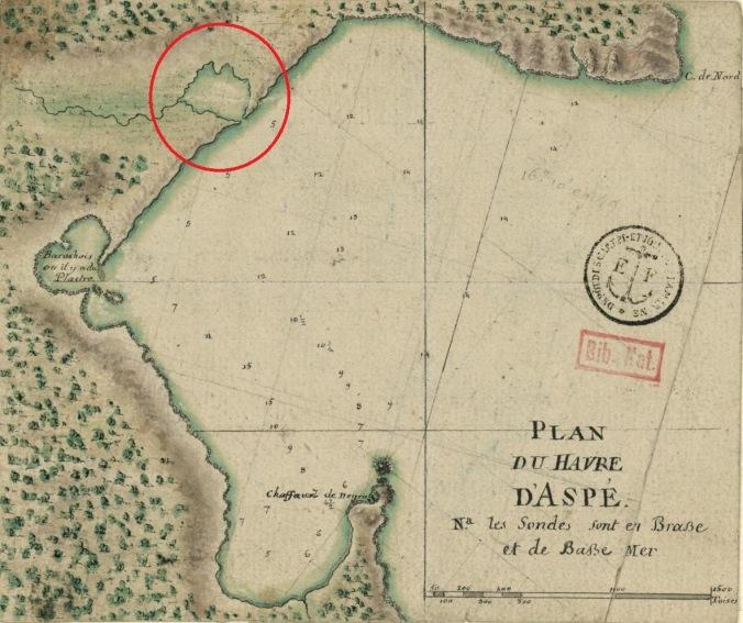 Plan du havre d'Aspé. L'anse de Chadie est encerclée. (Source : gallica.bnf.fr. N5901074_JPEG_4_4DM)