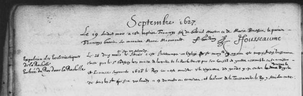 Baptêmes septembre 1627