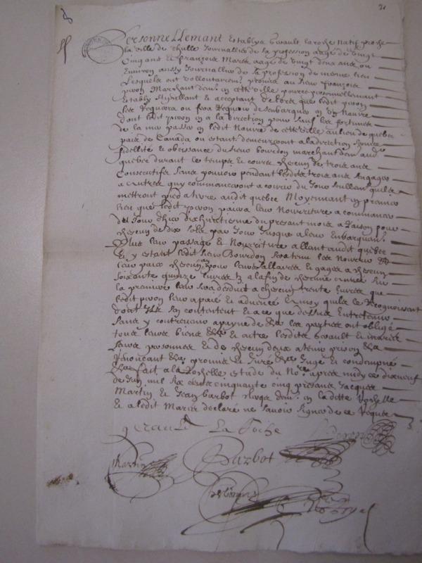 Contrat d'engagement de Gérault Laroche et de François Mares pour le Canada. 19 juin 1655. (Source : AD17. Greffe Abel Cherbonnier. 3 E 1128. Liasse Canada (pièce 31, anciennement pièce 8)