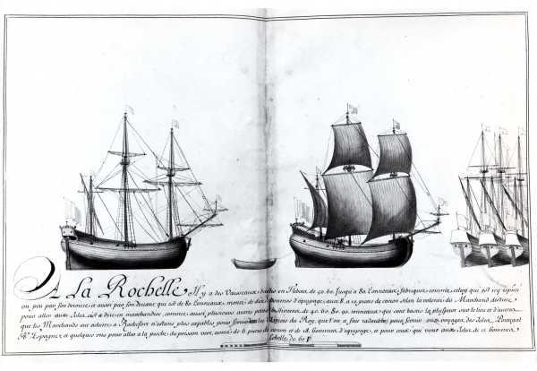 Navires de commerce rochelais au XVIIième siècle. Flibots (ou barques). (Source : Dessins de l'Album dit de Colbert, 1679)