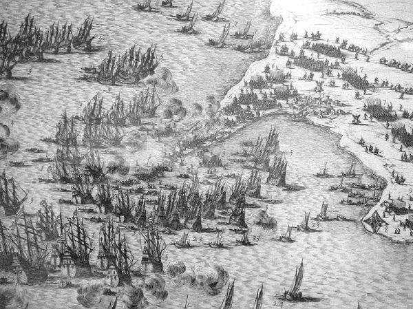 Débarquement de Buckingham à Sablanceaux (île de Ré) en 1627. (Source : Auteur : Jacques Callot, 1630 in Wikimedia Commons, la médiathèque libre)