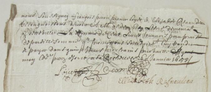 Obligation de François Peron, Piance Louet et Élizabeth, son épouse, à Gédéon Bion, marchand de La Rochelle. 26 janvier 1658. (Source : AD17. Greffe Abel Cherbonnier. Liasse 3 E 302)