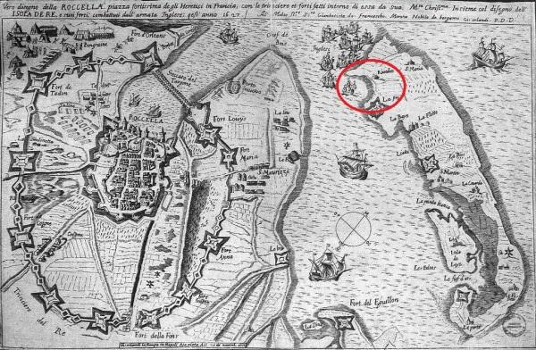 Le Siège de La Rochelle en 1627. La plage de Sablanceaux (encerclé rouge). (Source : (Source : Auteur : Orlandi, 1627 in Wikimedia Commons, la médiathèque libre)