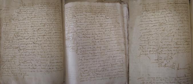Contrat de mariage entre Antoine Richard et Anne-Marie Rivereau. 1er août 1569. (Source : AD17. Notaire Antoine Pancereau. Registre 3 E 2023)